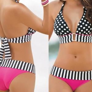 Stripe Fringe Dotted Bikini